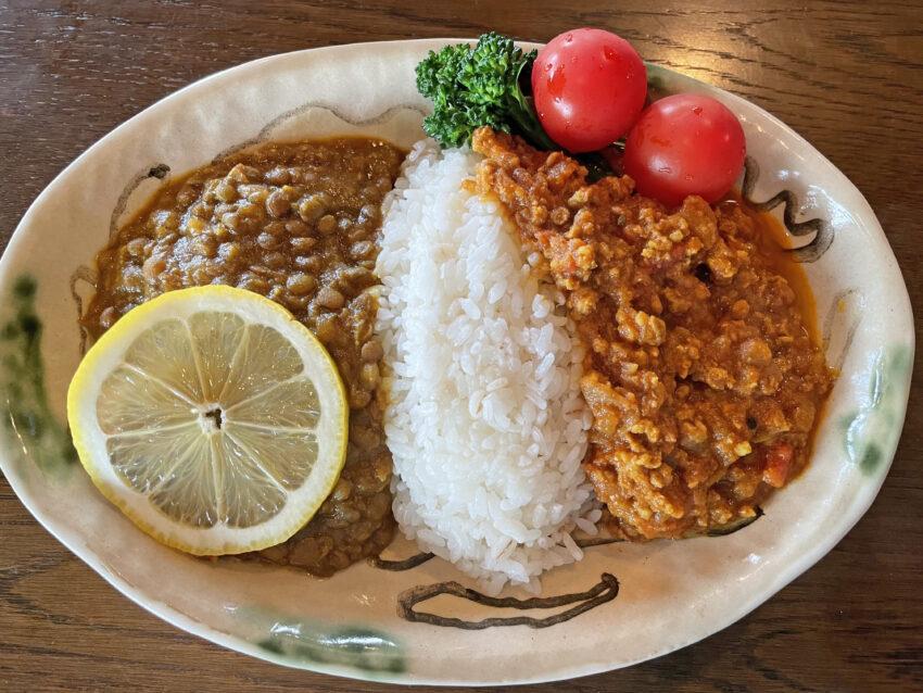 キーマカレーとレンズの豆カレー